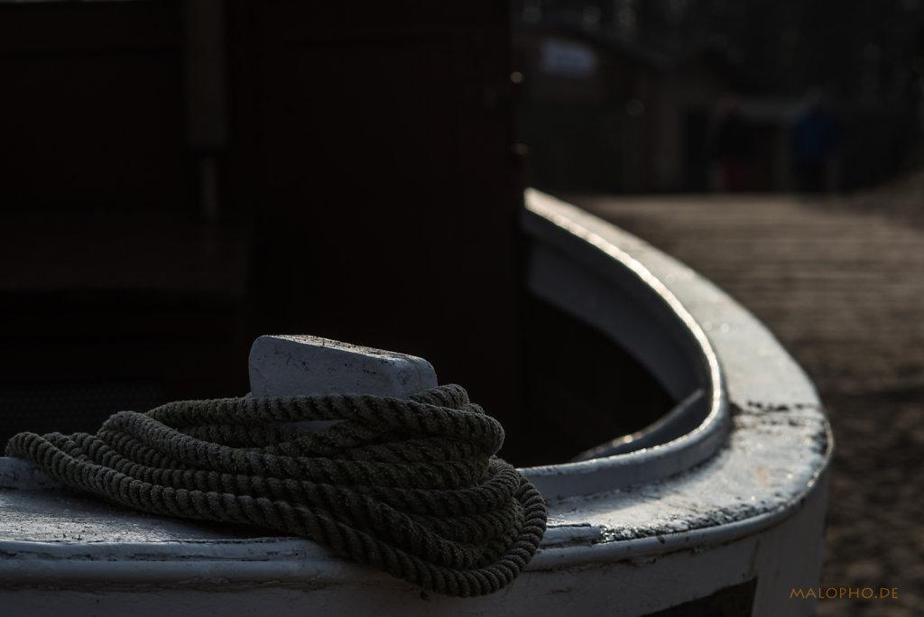 Bootskurve mit Tau